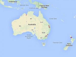 Rozšíření ponciru ve volné přírodě Australie